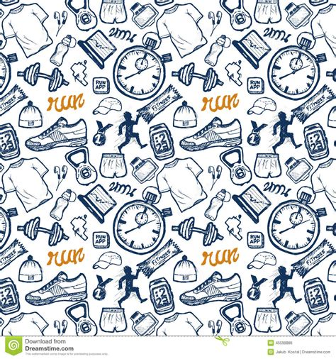 doodle run free run icons seamless pattern set in doodle style