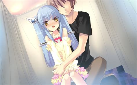 lolicon girls blue eyes blue hair blush breasts censored dendou akira