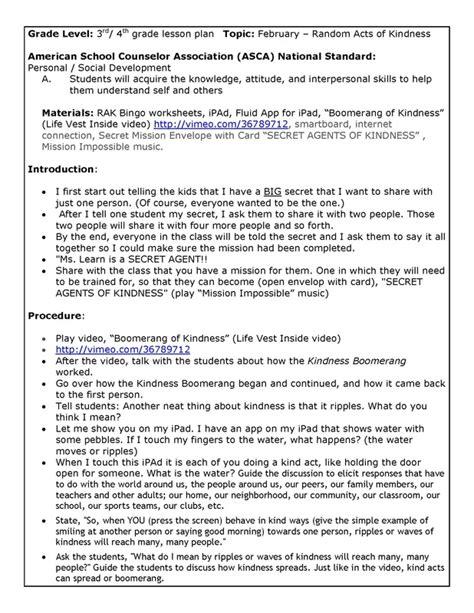 Kindness Lesson Plan 4th Grade Sandra Learn Licensed