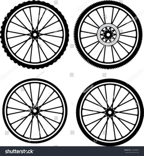Bicycle Wheel Outline by Road Mountain Bike Wheels Tires Stock Vector 126380807