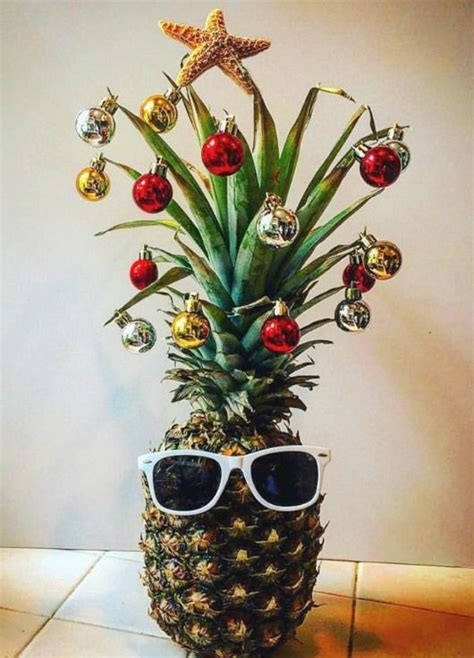 Kitchen Island Centerpieces fun pineapple christmas tree idea with a tropical island