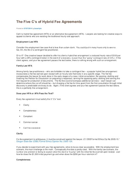 The Five C S Of Hybrid Fee Agreements Pay For Access Retainer Agreement Template