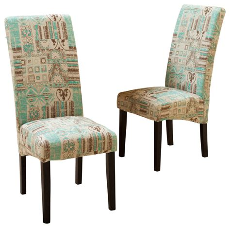 Fabrics For Dining Room Chairs India Geometric Fabric Dining Chairs Set Of 2 Teal Contemporary Dining Chairs By Great