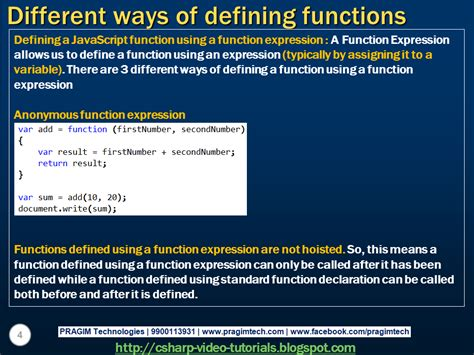 tutorial on javascript functions sql server net and c video tutorial different ways of