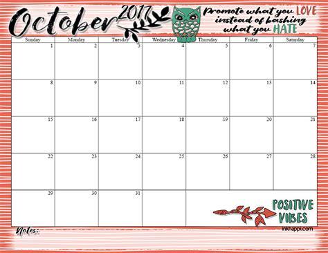 Calendar October 2017 Print Inkhappi Graphic Design Decor More