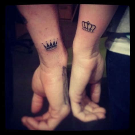 king queen crown tattoos 40 stunning couples wrist