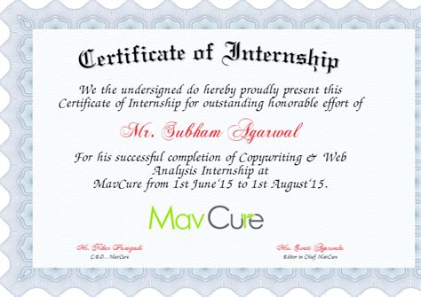internship certificate template 6 internship certificate templates certificate templates