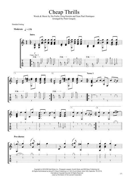 Cheap Thrills Fingerstyle Guitar Sheet Music PDF Download