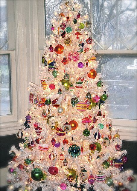 bright tree decorations shiny brite ornaments on a white tree