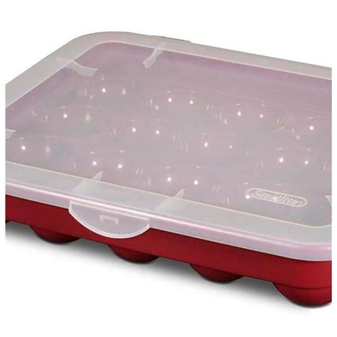sterilite ornament storage case with lid red 3 pack 3