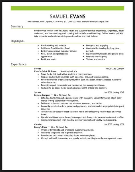 food server resume sles certified nursing assistant