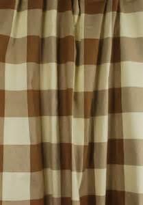 Brown cream buffalo check drapery fabric poseidon acorn