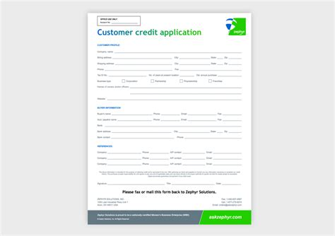 Form Credit Application Customer Customer Credit Application Form