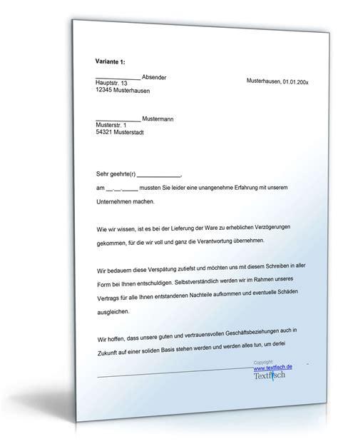 Musterbriefe Entschuldigungsschreiben entschuldigung versp 228 tete lieferung produkt muster zum