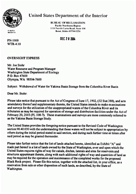 Withdrawal Letter Of Documents From Agency Withdrawal Letter From The U S Bureau Of Reclamation To Washington Dept Of Ecology Withdrawing