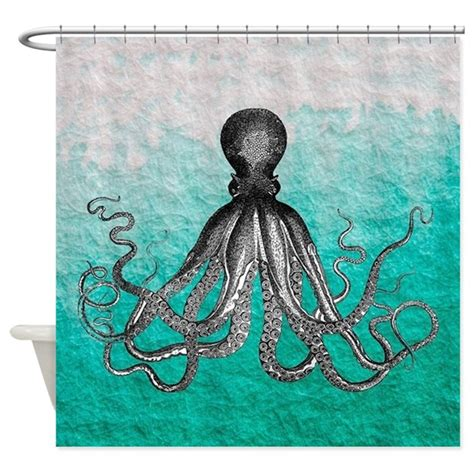 shower curtain octopus ombre vintage nautical octopus wate shower curtain by