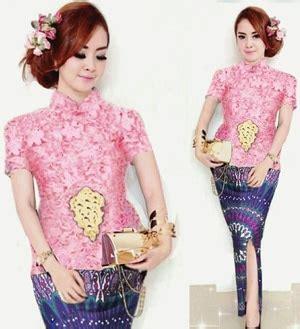 Setelan Kebaya Modern Dan Trendy 1 setelan baju kebaya brukat dan rok batik cantik modis