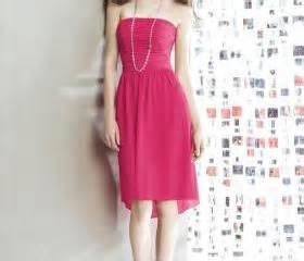 Rubby Dress Pink Balotelly Sk strapless neckline mini high low skirt chiffon bridesmaid