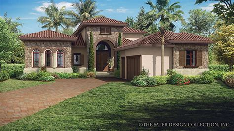 Tuscan Villa House Plans | home plans homepw77015 3 648 square feet 3 bedroom 3 bathroom florida home with 3 garage bays