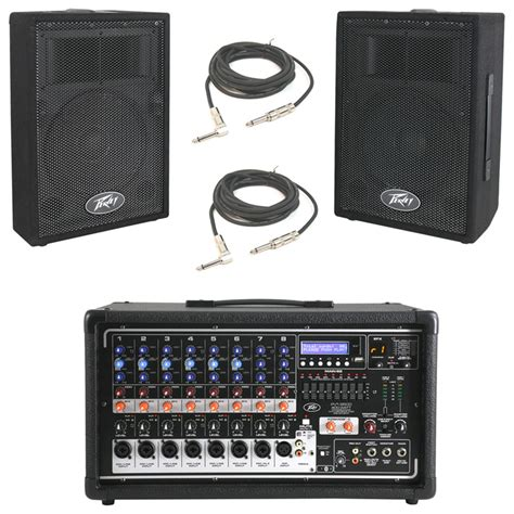 peavey pvi 10 10 pa speaker cabinet pair peavey pvi 8500 pro 8ch powered 400w mixer 2 1 4 quot cables