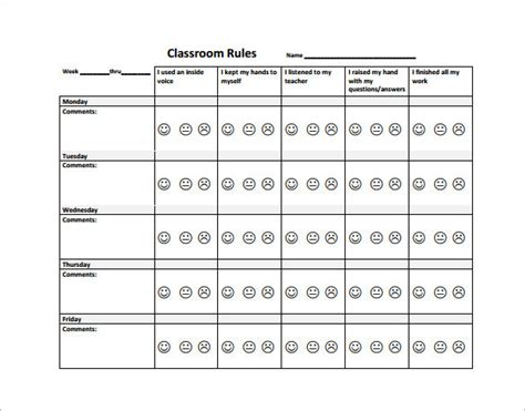 layout behavior behavior plan template for elementary students templates