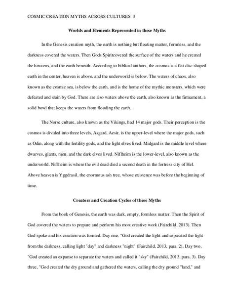 Creation Essay by Cosmic Creation Myths Across Cultures