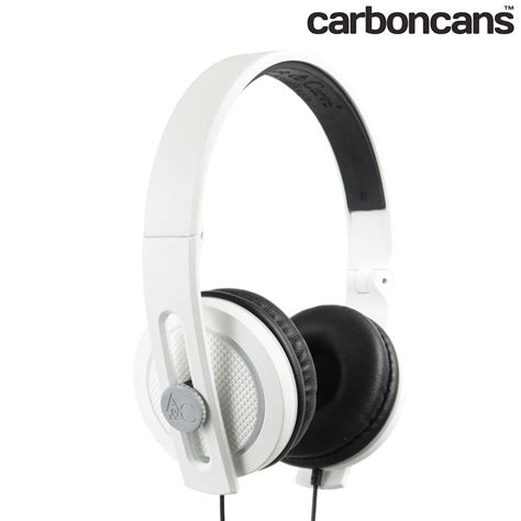 Headphone Lunar carboncans headphones trooper white lunar grey with mic angle and curve