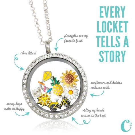 Origami Owl Large Silver Locket With Crystals - summer themed origami owl living locket large silver