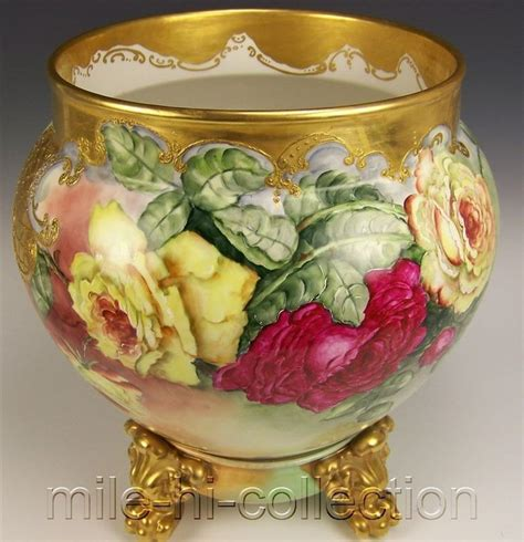 hand painted porcelain ls limoges france hand painted roses jardini 232 re vase base