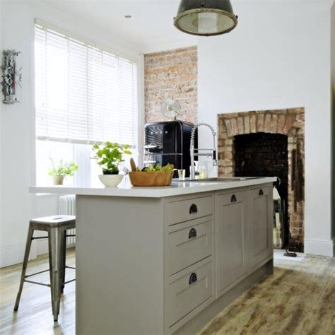 Industrial Style Kitchen Units by Pale Grey Kitchen Diner With Island Unit Storage