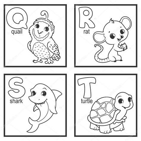 lettere vettoriali un alfabeto con gli animali svegli vettoriali stock