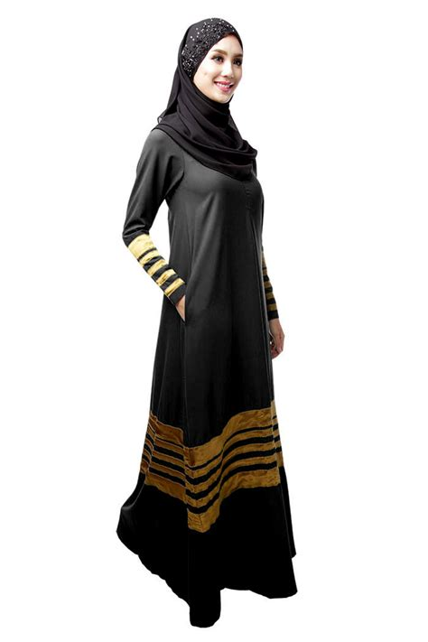 Maxi Trip Dress Busana Muslim womens striped abaya islamic muslim maxi dress green