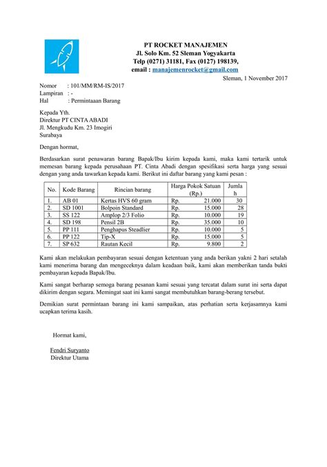 Pesanan Pribadi contoh surat permintaan barang terbaru