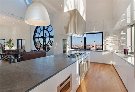 tower apartments nyc clock tower apartment open plan kitchen island in high gloss white with range interior design