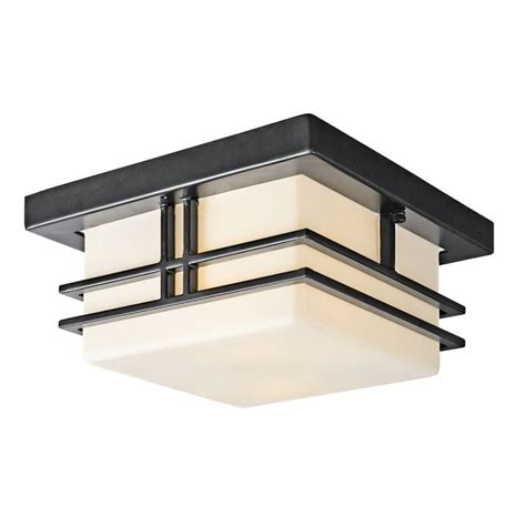 Contemporary Exterior Light Fixtures Kichler 49206bk Black Painted Modern Two Light Outdoor Flush Mount Ceiling Fixture From The