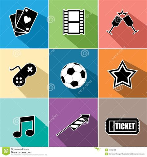 app design elements vector entertainment icons set flat design stock vector image