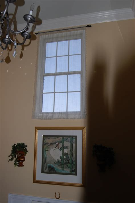 Foyer Window Curtains Vintage Sheer On Two Story Foyer Window My Window Treatments Two Story Foyer