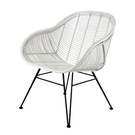white wicker armchair rattan armchair in white pitaya maisons du monde