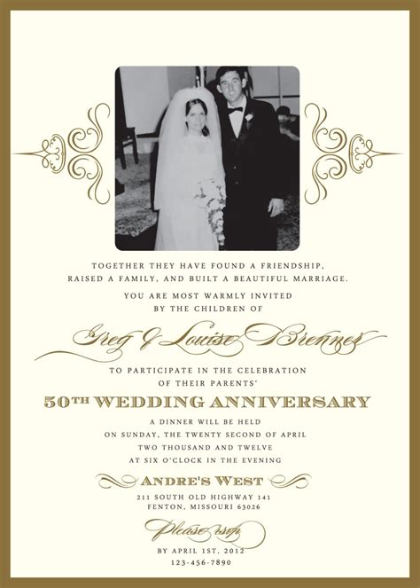 50th anniversary invitations templates free 50th anniversary invites templates free templates