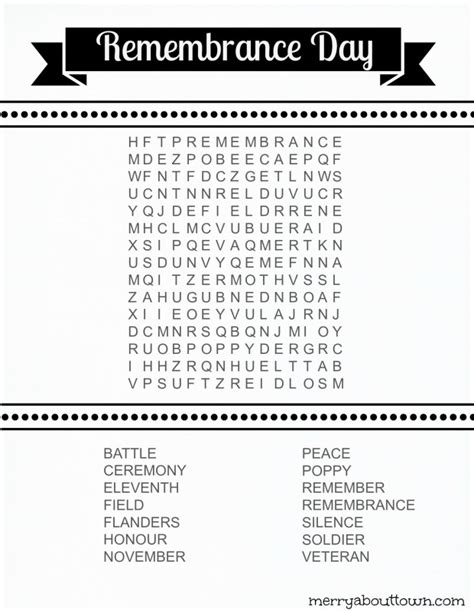 printable word search for veterans day remembrance day wordsearch printable merry about town