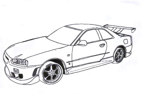 nissan skyline free colouring pages