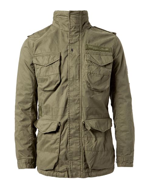 hilfiger povato jacket in green for lyst