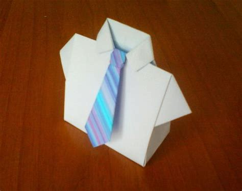 Paper Shirt Origami - origami shirt box with tie2 origami shirt origami and box