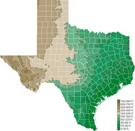 elevation map texas texas elevation map texas map map of texas texas state county and city maps