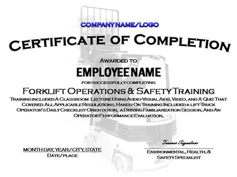 7 Best Images Of Forklift Certification Certificate Sle Forklift Certification Certificate Forklift Card Template