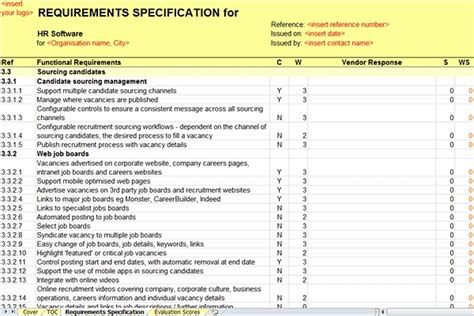 rfp requirements template revised and enhanced human resource hr rfi rfp template