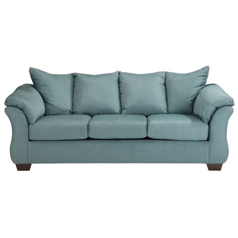 ashley darcy sofa ashley darcy fabric full size sleeper sofa in sky 7500636