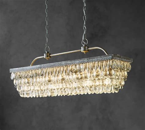 Clarissa Crystal Drop Rectangular Chandelier Pottery Barn Drops For Chandeliers