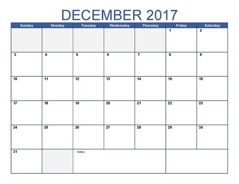Template Calendar December 2017