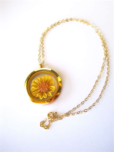 Origami Pendant Necklace - origami sunflower necklace floating locket pendant